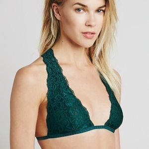 """[Free People] """"Truly Madly"""" Green Halter Bralette"""